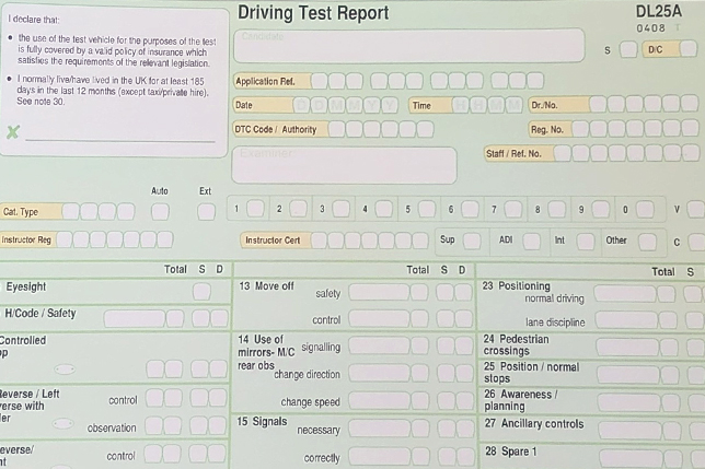 Top 10 reasons for failing your driving test